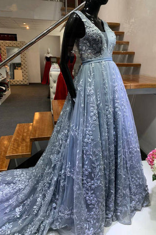 Elegant A Line Lace Tulle Evening Dress V Neck Sweep Train Beaded Blue Prom Dresses Long Formal Gowns