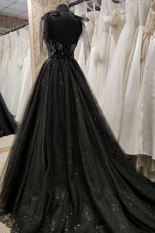 Black Tulle Party Dress A-Line Off Shoulder Maxi Corset Lace Beading Prom Evening Dress Formal Dress