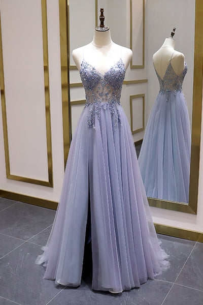 Sexy Illusion Long Prom Dress Luxury Beads A Line Long Formal Women Evening Gown Party Dress