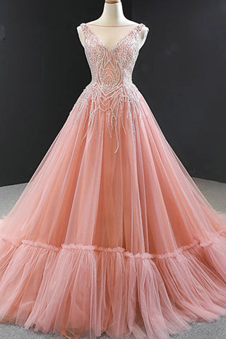 New Arrival Women Prom Dresses Long Beadings Tulle Lace-up Back Dubai Ball Gown Formal Evening Gowns