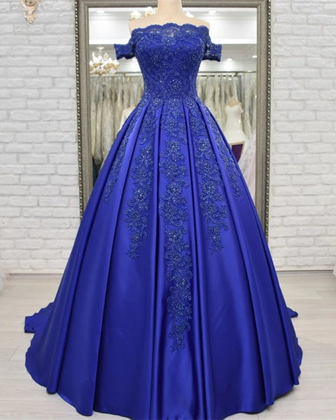 Royal Blue Satin Appliques Ball Gown Prom Dresses Off Shoulder Crystals Lace up Formal Evening Party Dress