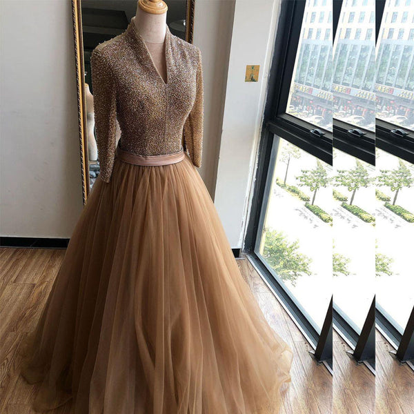 Dark Champagne Muslim Evening Dresses Beading Top Long Sleeves Tulle Formal Prom Dress