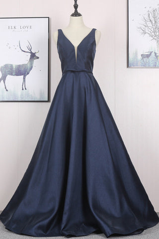 New Simple A- Line Deep Blue Satin Long Prom Dress Party Dresses