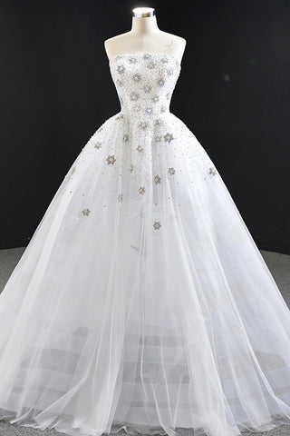 White Tulle Strapless Long Bridal Wedding Dress Applique Formal Prom Dress