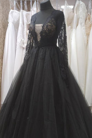 Black Deep V Neckline Evening Dress with Long Sleeves Black Lace Women Prom Dress Evening Gown