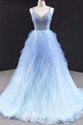 Blue Tulle Long Evening Dress Sequins Beading Backless Ruffles Long Prom Dresses