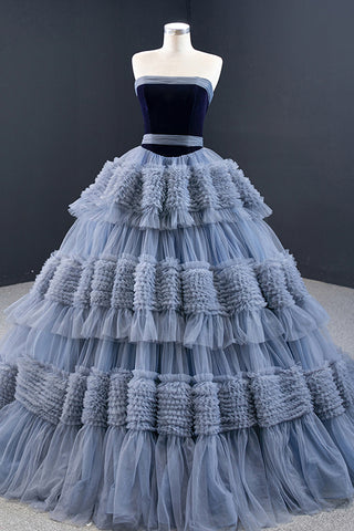 Strapless Blue Tulle Tiered Lace-up Banquet Ruffles Evening Dress Long Train Formal Prom Dress