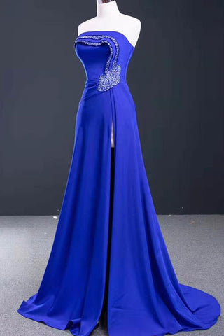 Blue Slim-fit Banquet Long Evening Dress Backless Lace-up Floor-length Prom Dress