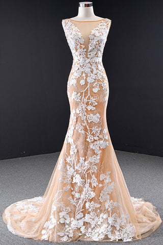 Champagne Tulle Long Evening Dress White Printed Pattern Lace Backless Trailing Prom Dress
