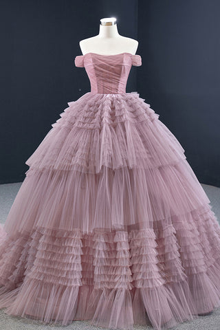Pink Tulle Long Tiered Backless Ruffled Evening Dress Formal Prom Dresses Ball Gown