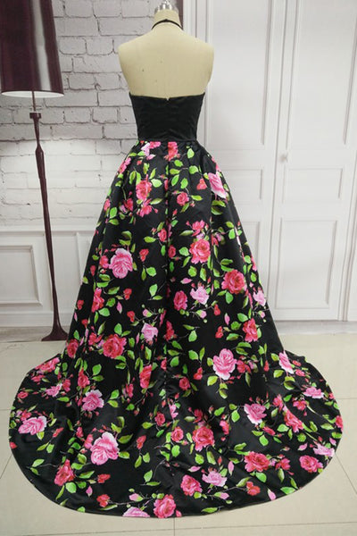 Vintage Long Satin Floral Black Prom Dresses Floor Length Halter Open Back Party Dresses for Women