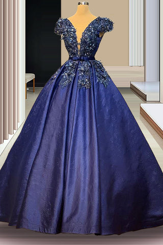 Navy Blue Appliques Prom Dresses A-Line Long Crystals Evening Dresses Women Celebrity Dresses