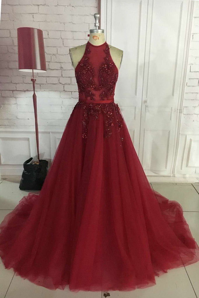 Sexy A-Line Halter Long Burgundy Tulle Prom Dresses Backless Floor Length Formal Party Dresses