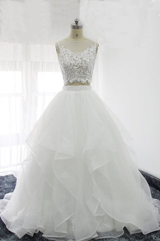 Elegant white tulle handmade two pieces long wedding dress, lace prom dress
