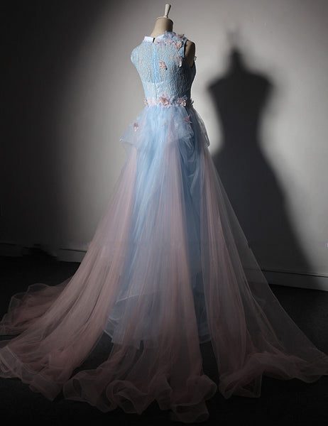 Light Blue Lace Round Neck High Low A Line Prom Dress Evening Dress With Removable Skirt
