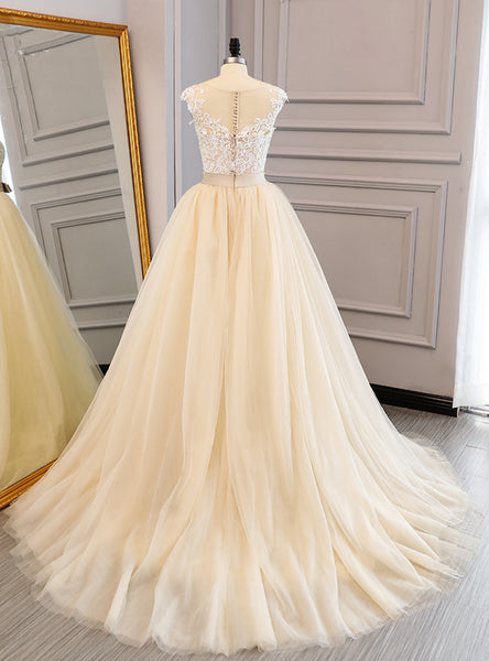 2019 Prom Dresses | Champagne tulle cap sleeves long lace A-line formal prom dresses, long lace evening dress