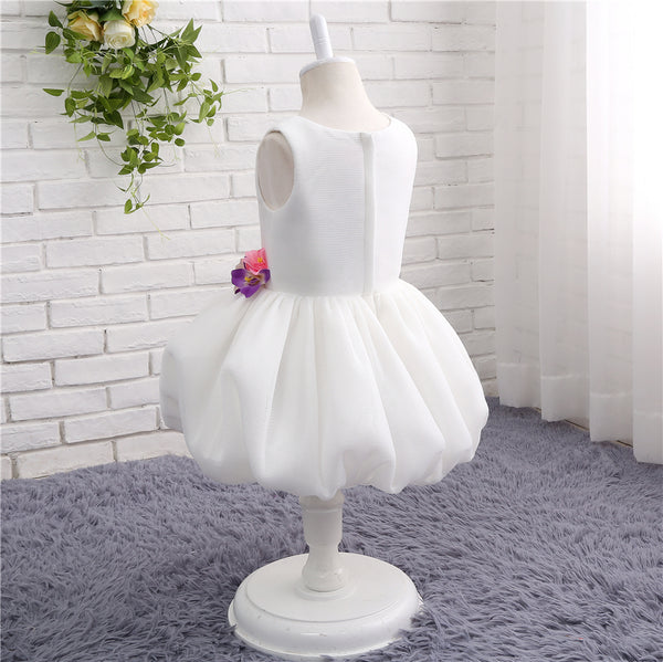 Sweet 16 Dresses | White tulle round neck princess layer girls dress