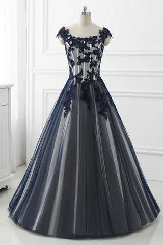 Long Black Lace Prom Dresses A Line Evening Party Dresses Graduation Dresses
