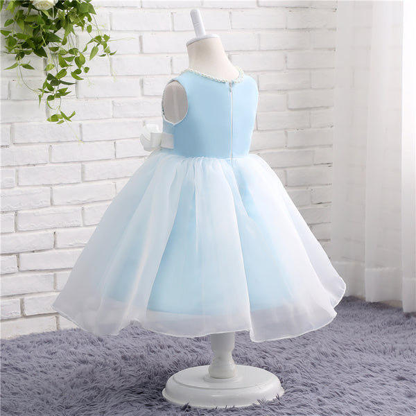 2019 Prom Dresses | Blue and white pearl A-line girls dress with flower sash