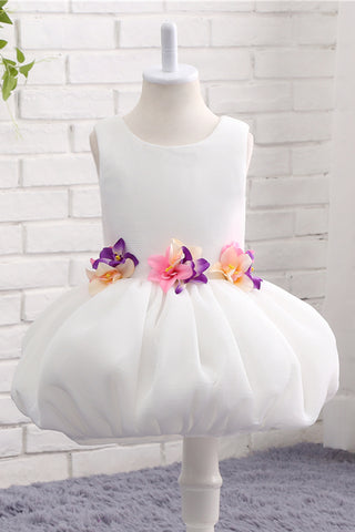 White tulle round neck princess layer girls dress