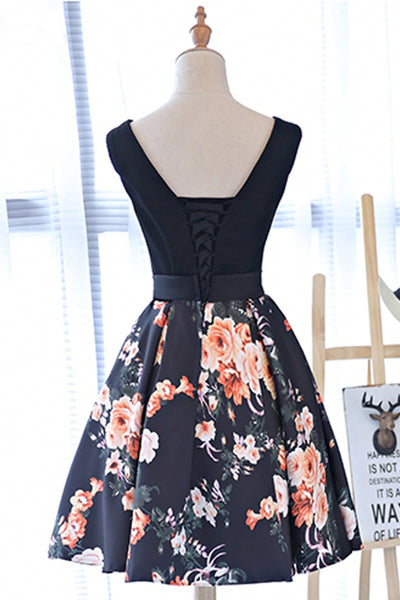 2019 Prom Dresses | Cute black V neck short prom dress, floral party dress