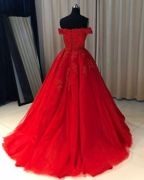 Sweet 16 Dresses | Red tulle off shoulder sweetheart neckline long formal evening dress with appliques