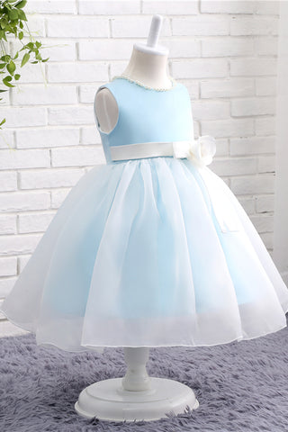 Blue and white pearl A-line girls dress with flower sash