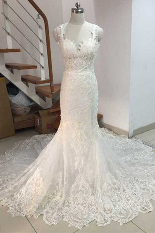 White Spaghetti Strap Mermaid Wedding Dresses Bridal Gown Backless Full Lace Appliques Backless Wedding Gowns Prom Dress