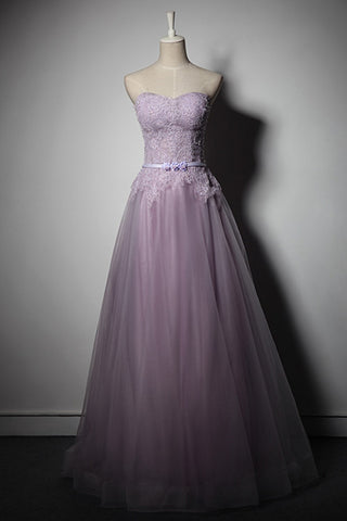Long Light Purple Lace Prom Dresses Women A Line Tulle Party Formal Evening Dresses