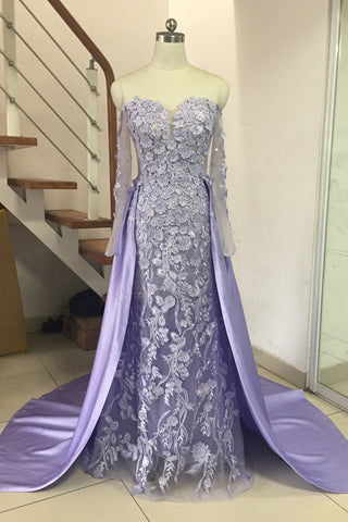 Overskirt Dresses Evening Mermaid Off The Shoulder Formal Prom Dress With Sleeves 3D Applique Tulle Beaded Long Prom Gowns