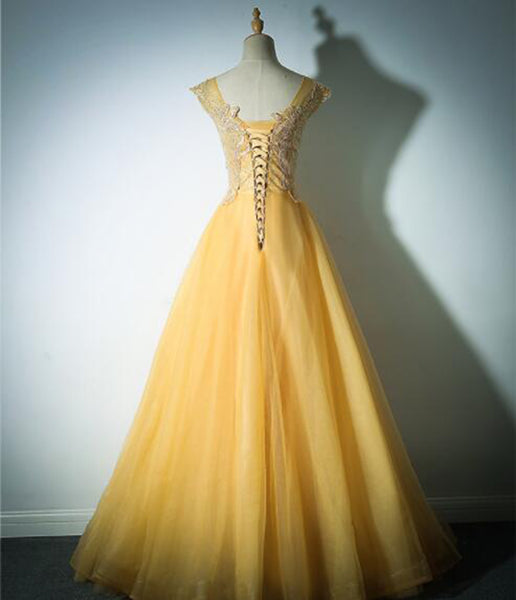 Yellow Long Lace Prom Dresses A Line  8th Grade Women Tulle Formal Dresses for Graduation Gown