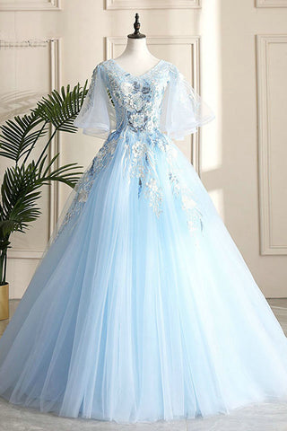 Floor Length Blue Evening Party Dress School V-neck Lace Flowers Lace-up Back Fashionable Long Prom Dress Ball Gown