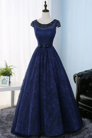 Navy Blue Lace Prom Dresses Long Beaded Women Prom Evening Party Dresses