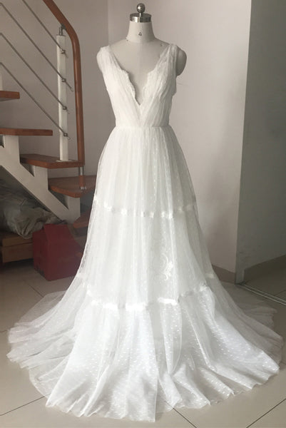 White Tulle A-line Bohemian Wedding Dresses V-neck Backless Tulle Sweep Train Lace Beach Bridal Dress Prom Dress
