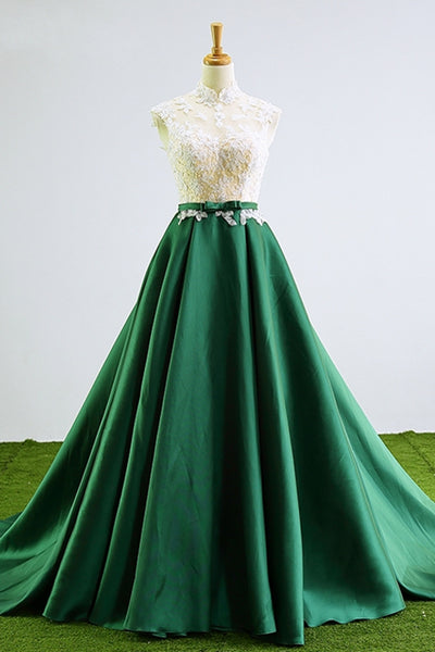 Green Lace Prom Dresses Long Beaded High Neck Graduation Gown Evening Dress