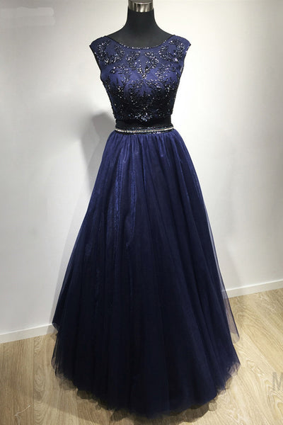 2021 Formal Navy Blue 2 Piece Prom Dresses Exquisite Beaded Tulle A Line Floor Length Long Evening Gowns