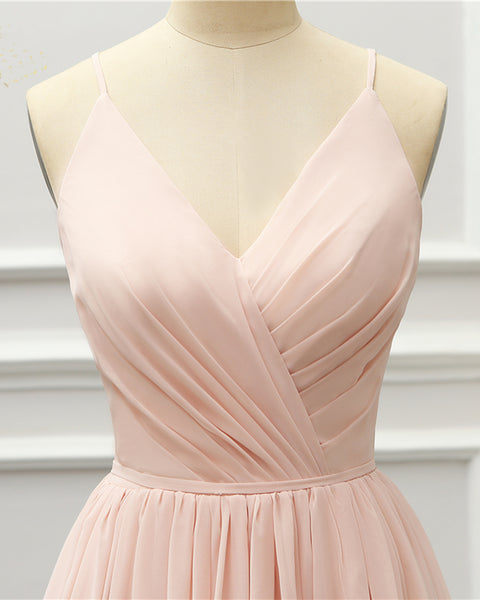 2019 Prom Dresses | Blush Pink Chiffon Open Back Long Prom Dress, Pink Bridesmaid Dress
