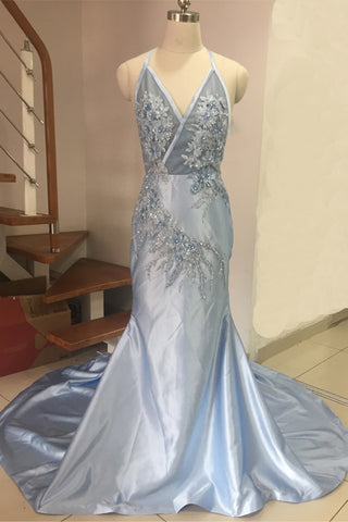 Blue Halter Mermaid Evening Dresses Lace Appliques Pearl Beading Backless Celebrity Gowns Sweep Train Special Occasion Prom Dress