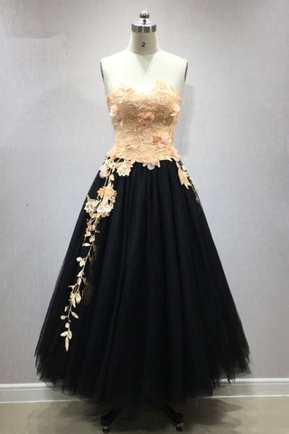 Cute strapless black tulle tea length homecoming dress with lace flower