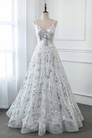 Silver Sequins Long Prom Dresses V Neck Formal A-line Dress