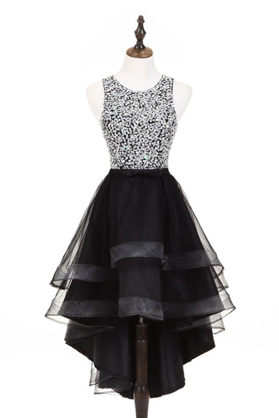 2019 Long Prom Dresses | Cute silver sequins high low black tulle homecoming dresses