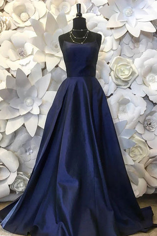 Deep Blue Satin A-line Prom Dresses Spaghetti Straps Formal Prom Gowns Women Party Dress