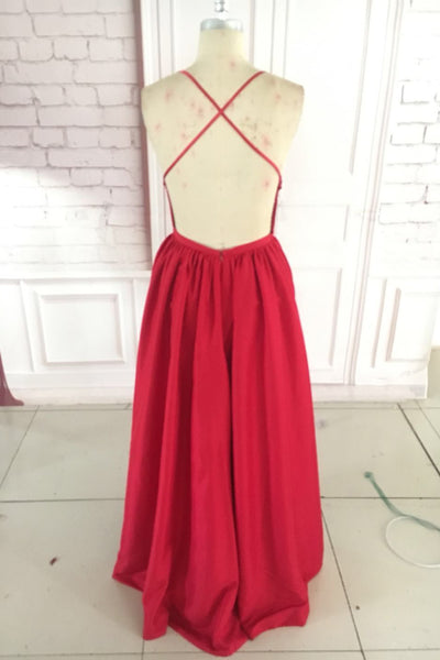 Deep V-Neck Long Red Prom Dresses with Criss cross Back Chiffon Floor Length Formal Party Dresses for Women