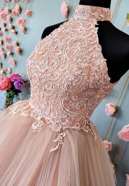 Pink Tulle Lace Short Open Back Prom Dress, Party Dress, Bridesmaid Dresses