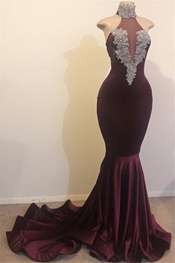 High Neck Backless Brush Train Mermaid Sequins Velvet Prom Dress Evening Dress