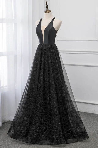 Sexy Black Deep V Neck Long Prom Dresses Backless Tulle Formal Party Dress