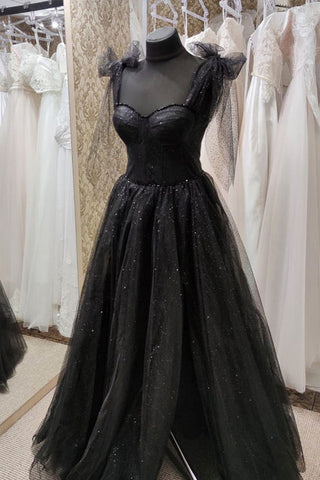 Sweetheart Black Tulle Sleeveless Prom Dress Evening Dress Sparkly Women Corset Formal Party Evening Gown
