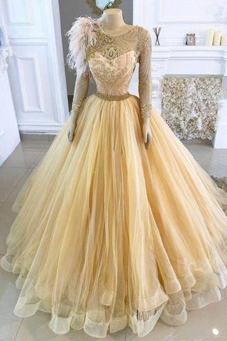 Gold Lace Crystals Evening Dresses Long Sleeves Prom Dresses Vintage Formal Party  Gowns