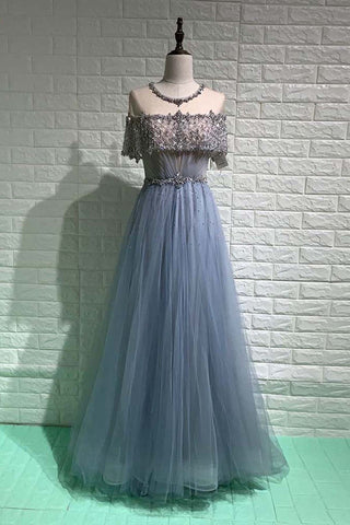 2021 Elegant Dubai Blue Prom Dresses Long Rhinestone Sequined Tulle Formal Evening Party Gown