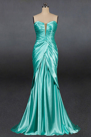 Latest Green Satin Slim Tube Top Prom Dress Banquet Party Wedding Evening Dress